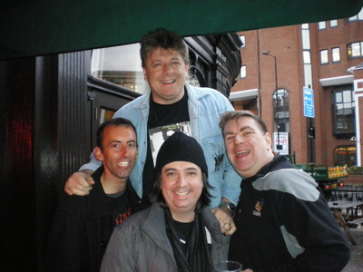 Another reunion - Lee with Kev Sullivan, Pete Manning and Alex Gitlin at the Distillers pub in Hammersmith